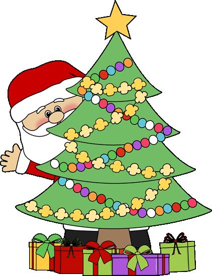 Christmas Tree Picture.Santa Behind Christmas Tree Vilniaus Lopselis Darzelis